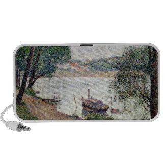 Paysage de rivière avec un bateau haut-parleurs iPod