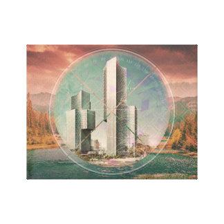 Paysage de ville de Polyscape Impression Sur Toile