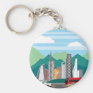 Paysage de ville de voitures porte-clé rond