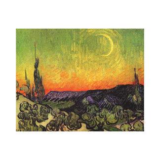 Paysage éclairé par la lune de Vincent van Gogh Toiles Tendues Sur Châssis