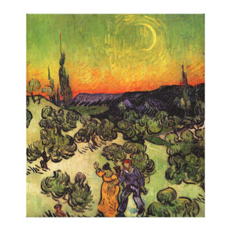 Paysage éclairé par la lune de Vincent van Gogh Toile Tendue