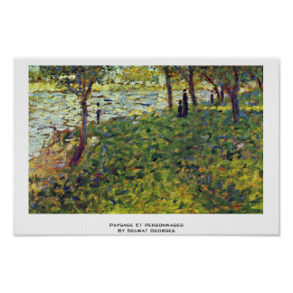 Paysage Et Personnages By Seurat Georges Poster