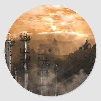Paysage gothique de la science fiction de sticker rond