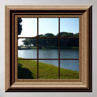 Paysage paisible d'affiche de fenêtre de Faux avec