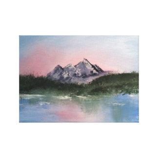 Paysage rose de montagne impressions sur toile