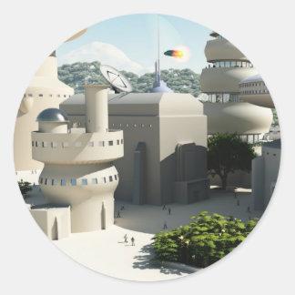 Paysage urbain futuriste de la science fiction sticker rond