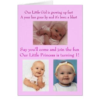 Payton's 1st Birthday Invitation Greeting Card