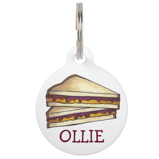 PBJ Peanut Butter and Grape Jelly Sandwich Foodie Pet Name Tag