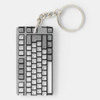 PC-keyboard Double-Sided Rectangular Acrylic Keychain