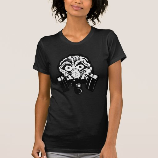 PCD Custom Art White Skull Gas Mask Tee Shirt