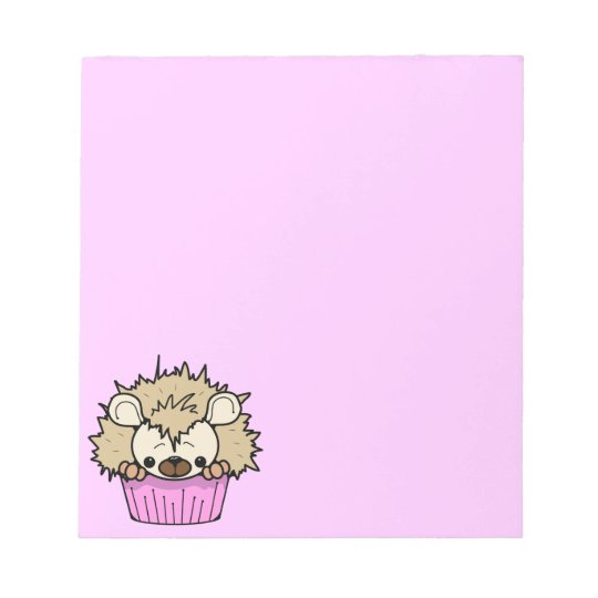 PCH CUTE CARTOON PASTEL PINK HEDGEHOG CUPCAKE HAPP NOTEPAD