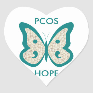 PCOS Awareness Butterfly Heart Sticker