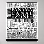 PCZ – Panama Canal Zone Locations w/ Border Poster