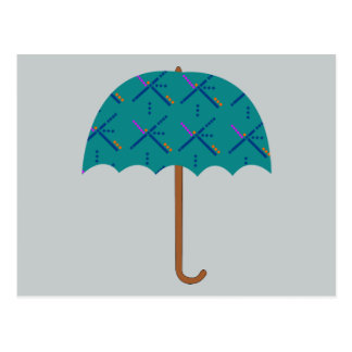 PDX Airport Carpet Umbrella Postcard