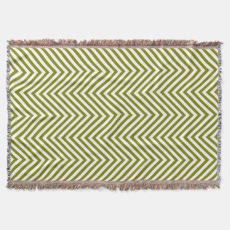Pea Green & White Zigzag - Throw Blanket