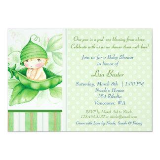 """Pea in a pod 5"""" x 7"""" invitation card"""
