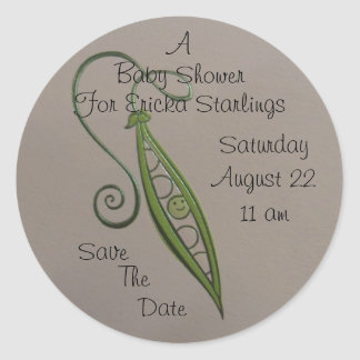 Pea in a Pod Baby Shower Announcement Envelope Classic Round Sticker