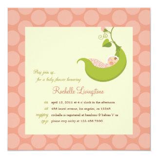 """Pea in a Pod Girl Baby Shower Invitation 5.25"""" Square Invitation Card"""