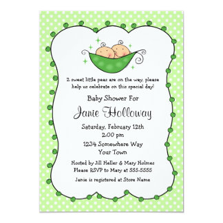 Pea In My Pod Twins Baby Shower 5x7 Paper Invitation Card