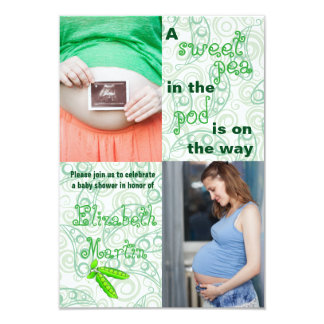 Pea in the Pod 2 Photos-3x5 Baby Shower Invitation