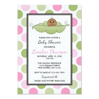 Pea Pod Girl Baby Shower Invitations │ Dark Skin