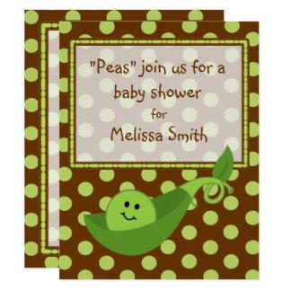 Pea Pod on Polka Dots Neutral Baby Shower Invite