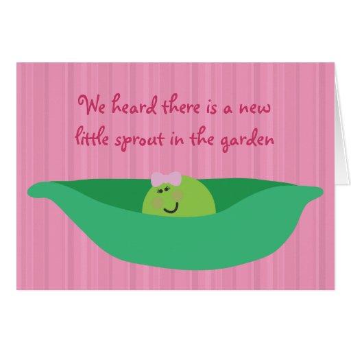 Pea Pod Pals New Baby Girl Congratulations Card