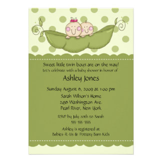 Pea Pod Twin Boy Girl Baby Shower Invitations