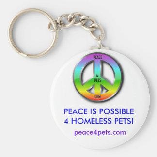 PEACE4PETS, PAIX EST DES ANIMAUX FAMILIERS DU PORTE-CLÉ ROND