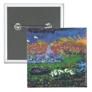 Peace 2 Inch Square Button