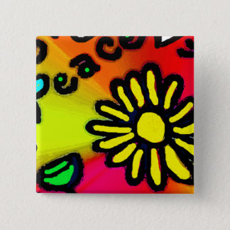 peace 2 inch square button