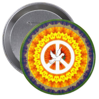 Peace 4 Inch Round Button