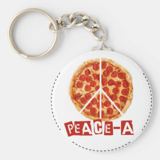 Peace-a for the pizza and peace  lover keychain