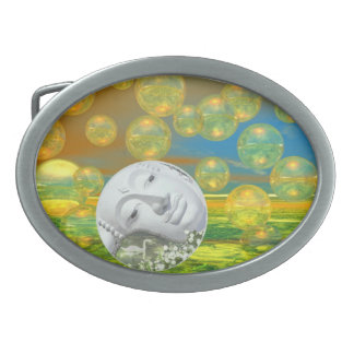 Peace – Abstract Golden and Emerald Serenity Belt Buckles