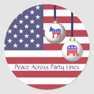 Peace Across Party Lines Bipartisan Holidays Round Sticker