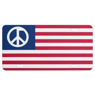 PEACE AMERICAN FLAG PATRIOTIC LICENSE PLATE