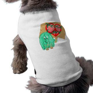 Peace an love - heart shaped peace sign doggie tee