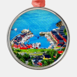 Peace and beauty bodo norway harbor Silver-Colored round ornament