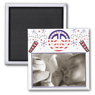 Peace and Fireworks Patriotic Picture Frame Magnet