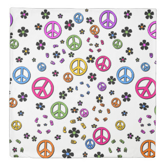 Peace and FLowers Duvet Cover