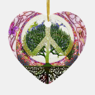 Peace and Flowers Symbol Ceramic Ornament