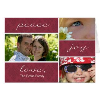 Peace and Joy Folded Holiday Card-burgundy Greeting Card