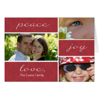 Peace and Joy Folded Holiday Card-red Greeting Card
