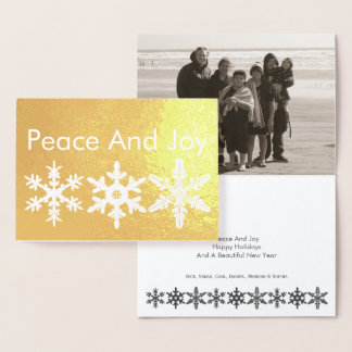 Peace And Joy Snowflake Gold Modern Rustic Photo Foil Card