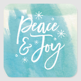 Peace and Joy Snowflakes Watercolor Sticker Square