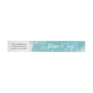 Peace and Joy Snowflakes Watercolor Wrap Label Wraparound Address Label