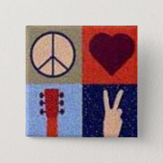 Peace and love. 2 inch square button