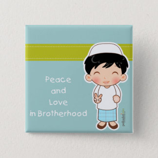 Peace and Love Badge 2 Inch Square Button
