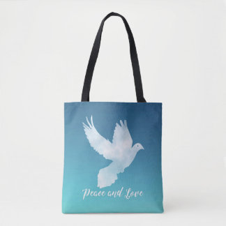 Peace and Love design with flying Dove Tote Bag