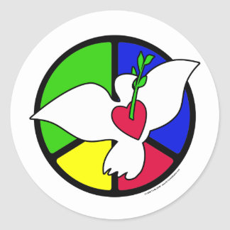 Peace and Love Dove Classic Round Sticker